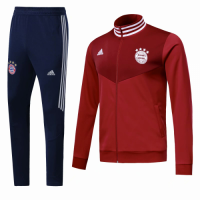 18-19 Bayern Munich Red&Navy High Neck Collar Training Kit(Jacket+Trousers)