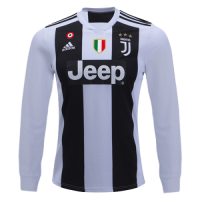 18-19 Juventus Home White Long Sleeve Soccer Jersey Shirt