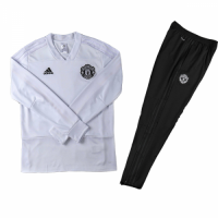 Kids 18-19 Manchester United White Sweat Shirt Kit(Top+Trouser)