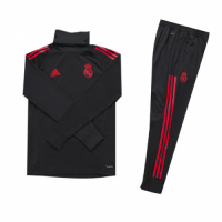 Kids 18-19 Real Madrid Black Turtleneck Sweat Shirt Kit(Top+Trouser)