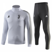 18-19 Juventus White Turtleneck Sweat Shirt Kit(Top+Trouser)