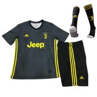 18-19 Juventus Third Away Black  Children's Jersey Whole Kit(Shirt+Short+Socks)