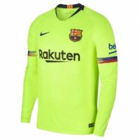 18-19 Barcelona Away Green Long Sleeve Jersey Shirt