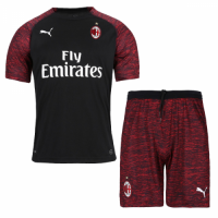 18-19 AC Milan Third Away Black Soccer Jersey Kit(Shirt+Short)