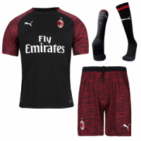 18-19 AC Milan Third Away Black Soccer Jersey Kit(Shirt+Short+Sock)