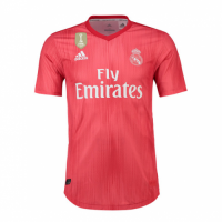 18-19 Real Madrid Third Away Red Soccer Jersey Shirt(Player Version)