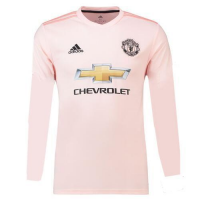 18-19 Manchester United Away Pink Long Sleeve Jersey Shirt