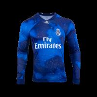 18-19 Real Madrid EA Sports Blue Long Sleeve Jerseys Shirt