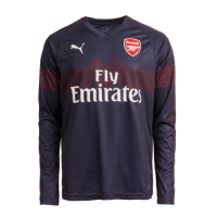 18-19 Arsenal Away Long Sleeve Navy Soccer Jersey Shirt