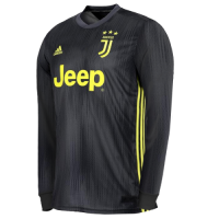 18-19 Juventus Third Away Black Long Sleeve Soccer Jersey Shirt