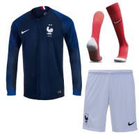2018 World Cup France Home Shirt Two Stars Long Sleeve Soccer Jersey Kit(Shirt+Short+Socks)