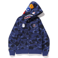 PSG X Bape Shark Full Zip Hoodie Jacket - Navy