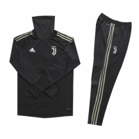 Kids 18-19 Juventus Black Turtleneck Sweat Shirt Kit(Top+Trouser)