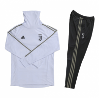 Kids 18-19 Juventus White Turtleneck Sweat Shirt Kit(Top+Trouser)