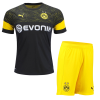 18-19 Borussia Dortmund Away Black Soccer Jersey Kit(Shirt+Short)