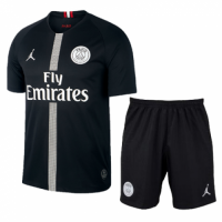 18-19 PSG JORDAN 3rd Away Player Version Black Soccer Jersey Kit(Shirt+Short)