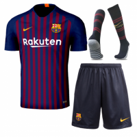 18-19 Barcelona Home Player Version Soccer Jersey Whole Kit(Shirt+Short+Socks)