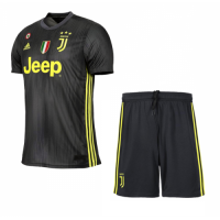 18-19 Juventus Third Away Black Soccer Jersey Kit(Shirt+Short)