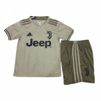 18-19 Juventus Away Light Gray Children's Jersey Kit(Shirt+Short)