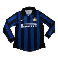 98-99 Inter Milan Home Blue&Black Long Sleeve Retro Jerseys Shirt