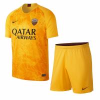 18-19 Roma Third Away Yellow Soccer Jersey Kit(Shirt+Short)