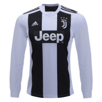 18-19 Juventus Home White Long Sleeve Soccer Jersey Shirt