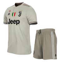 18-19 Juventus Away Gray Soccer Jersey Kit(Shirt+Short)
