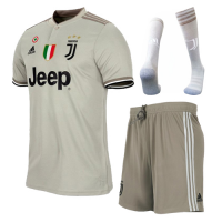 18-19 Juventus Away Gray Soccer Jersey Whole Kit(Shirt+Short+Socks)