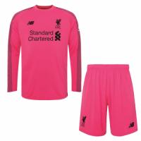 18-19 Liverpool Goalkeeper Pink Long Sleeve Jersey Kit(Shirt+Short)