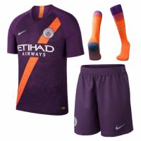18-19 Manchester City Third Away Purple Soccer Jersey Whole Kit(Shirt+Short+Socks)