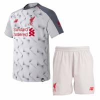 18-19 Liverpool Third Away Light Grey Soccer Jersey Kit(Shirt+Short)