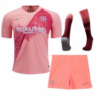 18-19 Barcelona Third Away Pink Soccer Jersey Kit(Shirt+Short+Socks)