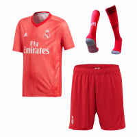 18-19 Real Madrid Third Away Red Soccer Jersey Whole Kit(Shirt+Short+Socks)