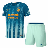 18-19 Atletico Madrid Third Away Green Soccer Jersey Kit(Shirt+Short)
