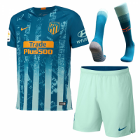 18-19 Atletico Madrid Third Away Green Soccer Jersey Whole Kit(Shirt+Short+Socks)
