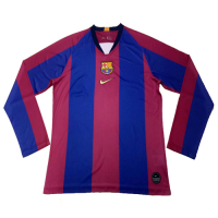 2019 Barcelona Special-Edition For El Clasico Home Long Sleeve Jerseys Shirt
