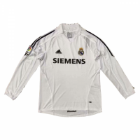 05-06 Real Madrid Home White Long Sleeve Retro Jersey Shirt