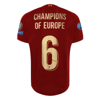 19-20 Liverpool Home Red Champions of Europe #6 Jerseys Shirt