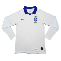 2019 Brazil Away White Long Sleeve Jerseys Shirt