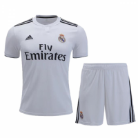 18-19 Real Madrid Home White Player Version Soccer Jersey Kit(Shirt+Short)