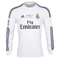 13-14 Real Madrid Home White Long Sleeve Retro Jerseys Shirt