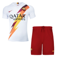 19-20 Roma Away White Soccer Jerseys Kit(Shirt+Short)