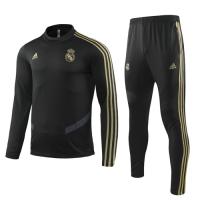 19-20 Real Madrid Black Sweat Shirt Kit(Top+Trouser)