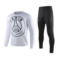 19-20 PSG Big Logo White Sweat Shirt Kit(Top+Trouser)