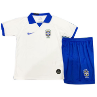 2019 Brazil Away White Children's Jerseys Kit(Shirt+Short)