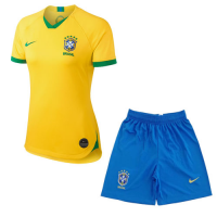 2019 World Cup Brazil Home Yellow Women's Jerseys Kit(Shirt+Short)