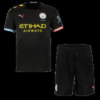 19-20 Manchester City Away Black Jerseys Kit(Shirt+Short)