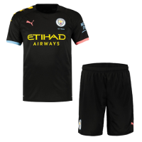 19-20 Manchester City Away Black Jerseys Kit(Shirt+Short)