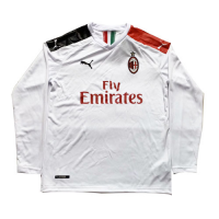 19/20 AC Milan Away White Long Sleeve Jerseys Shirt