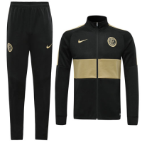 19/20 Inter Milan Black/Golden High Neck Collar Training Kit(Jacket+Trouser)